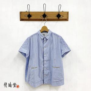 快晴堂 かいせいどう レディース  ブルーパッチワーク 20周年記念企画 フレンチ 半袖 シャツ 12S-02 (C/#ブルー) 2021春夏 新作 apakabar-style