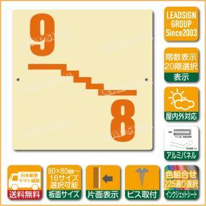階数表示板 左回り階段 踊り場 階数 表示 アルミパネル サイン プレート 印刷付 a1 デザイン ビス穴有り 安全標識 看板 DIY 建築 建設|apartment-doorplate
