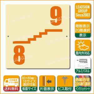 階数表示板 右回り階段 踊り場 階数 表示 アルミパネル サイン プレート 印刷付 a1 デザイン ビス穴有り 安全標識 看板 DIY 建築 建設|apartment-doorplate