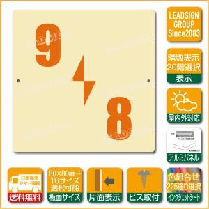階数表示板 左回り階段 踊り場 階数 表示 アルミパネル サイン プレート 印刷付 a2 デザイン ビス穴有り 安全標識 看板 DIY 建築 建設|apartment-doorplate