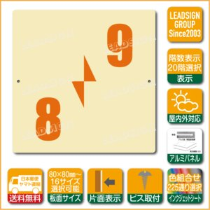階数表示板 右回り階段 踊り場 階数 表示 アルミパネル サイン プレート 印刷付 a2 デザイン ビス穴有り 安全標識 看板 DIY 建築 建設|apartment-doorplate