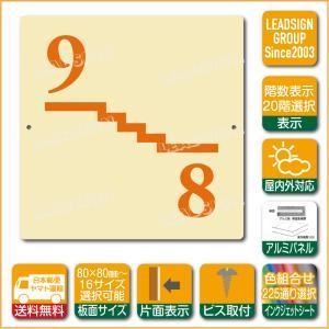 階数表示板 左回り階段 踊り場 階数 表示 アルミパネル サイン プレート 印刷付 b1 デザイン ビス穴有り 安全標識 看板 DIY 建築 建設|apartment-doorplate