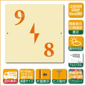 階数表示板 左回り階段 踊り場 階数 表示 アルミパネル サイン プレート 印刷付 b2 デザイン ビス穴有り 安全標識 看板 DIY 建築 建設|apartment-doorplate