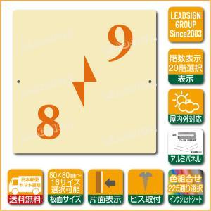 階数表示板 右回り階段 踊り場 階数 表示 アルミパネル サイン プレート 印刷付 b2 デザイン ビス穴有り 安全標識 看板 DIY 建築 建設|apartment-doorplate