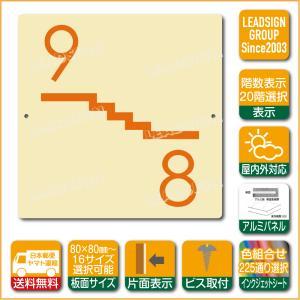 階数表示板 左回り階段 踊り場 階数 表示 アルミパネル サイン プレート 印刷付 c1 デザイン ビス穴有り 安全標識 看板 DIY 建築 建設|apartment-doorplate