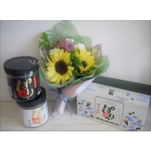 花束と味付のりぱりっギフトセット*誕生日 送別 結婚 お祝い 記念日 プレゼント 母の日 父の日 敬老の日|apertio-f