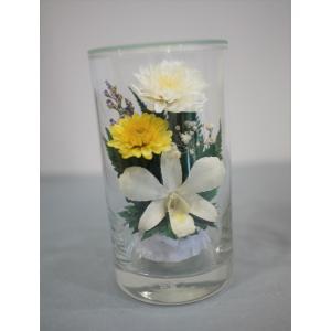 グラスフラワーS 仏花 白 ラン 蘭 枯れない花の仏花|apertio-f