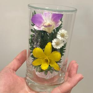 グラスフラワーS 仏花 ピンク  イエロー黄 ラン 蘭 枯れない花の仏花|apertio-f