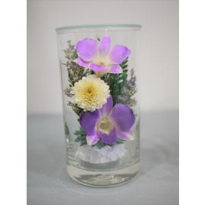 グラスフラワーS 仏花 ピンク ラン 蘭 枯れない花の仏花|apertio-f