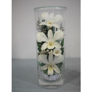 グラスフラワーM 仏花 白 ホワイト ラン 蘭 枯れない花の仏花|apertio-f