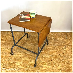 エクステンション テーブル /  サイドテーブル / 伸長式 /リモートワーク/ キャスター / ヴィンテージ / 北欧家具 / オーク / デンマーク|apetera