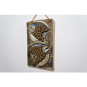 鳥のレリーフ ヴィンテージ陶板 縦 スウェーデン アリンガス窯 Ulla Winblad-Hjelmqvist ウラ ウィンブラッド apetera
