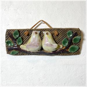 陶板 / 二羽の鳥 / スウェーデン apetera
