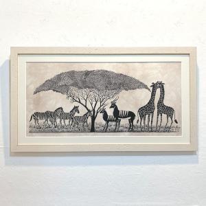 アートフレーム / #70 African wildlife(木とアフリカの動物)/ Heidi Lange / Sweden|apetera