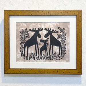 """アートフレーム / Moose Family with """"Made in Sweden"""" / Heidi Lange / Sweden apetera"""