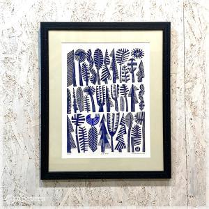 アートフレーム / BLUE BIRD(Ser.No.35/35) / リノカット /額装付き / Hilke Maclntyre / Scotland|apetera