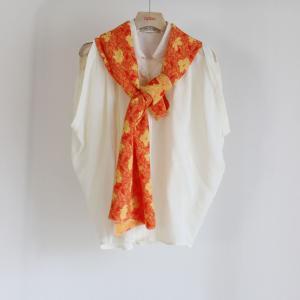 イタリア製フクレジャガード生地ストール【オレンジ】|apipo