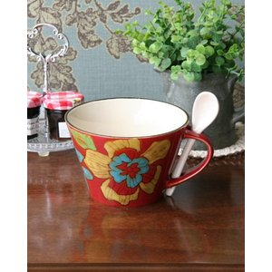 スープマグカップ スプーン付(レッド) 食器 陶器 花柄 お洒落 ナチュラル 北欧スタイル デザイン...
