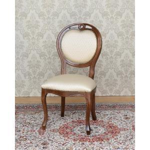 合皮 英国スタイル お洒落 バルーンチェア レザー 椅子 (アンティーク風/ブラウン) インテリア 輸入家具 木製 ダイニングチェア デザイン リプロダクト