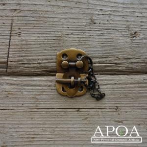 掛け金具 真鍮製 q032留め金具 錠前 アンティーク風 DIY|apoa