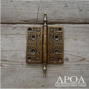 蝶番 丁番 真鍮製 金具 V.030 アンティーク風 レトロ DIY 扉|apoa