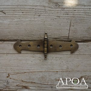 蝶番 丁番 真鍮製 金具 V.046 大きめ アンティーク風 レトロ DIY 扉 開き戸|apoa