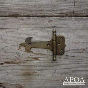 蝶番 丁番 真鍮製 金具 V.047  アンティーク風 レトロ DIY 扉 開き戸|apoa