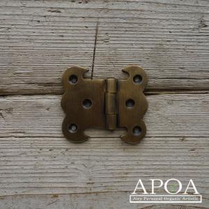 蝶番 丁番 真鍮製 金具 V.053  アンティーク風 レトロ DIY 扉 開き戸|apoa