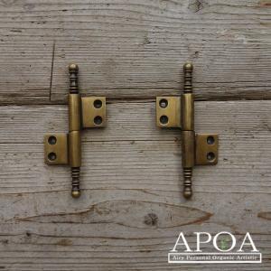 蝶番 丁番 真鍮製 金具 V.088 アンティーク風 レトロ DIY 扉|apoa