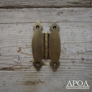 蝶番 丁番 真鍮製 金具 V.112 アンティーク風 レトロ DIY 扉|apoa