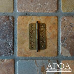 蝶番 丁番 真鍮製 金具 V.116 アンティーク風 レトロ DIY 扉|apoa