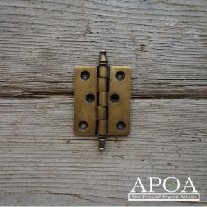 蝶番 丁番 真鍮製 金具 V.125  アンティーク風 レトロ DIY 扉|apoa