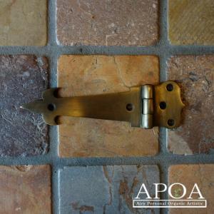 蝶番 丁番 真鍮製 金具 V.127 アンティーク風 レトロ DIY 扉|apoa