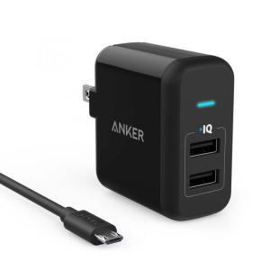 Anker PowerPort 2 ブラック+Micro USBケーブル 0.9m ブラック|appbankstore