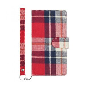 iPhone8 Plus ケース アイフォン8プラス simplism フリップノートファブリックケース FlipNote レッドチェック appbankstore