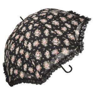 晴雨兼用傘 ローズ柄ドーム傘 ブラック おしゃれ レディース 送料無料|applemint-zakka2
