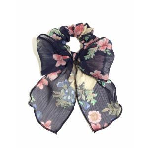 シフォンシュシュ 花柄 リボンシュシュ スカーフ 全3色 メール便可|applemint-zakka2