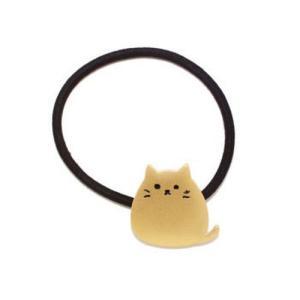 ヘアゴム 猫 おすわりもっちりねこ かわいい メタル  ゴールド シルバー neko cat メール便可|applemint-zakka2