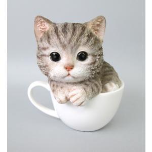 猫雑貨 レジン製ネコ 置物 ティーカップ キャット アメショ neko|applemint-zakka2