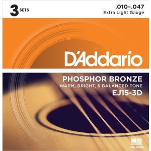 Daddario EJ15-3D  Ex.Light 010-047 [アコースティックギター弦 3セットパック] aprice