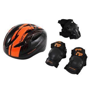 DOPPELGANGER DFP183-BK ブラック×オレンジ [キッズプロテクターセット(ヘルメット・エルボーパッド・ニーパッド・リストパッド)]|aprice