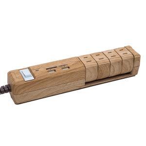 ファーゴ PT604BEWD ベージュウッド TAPKING USB OAタップ (雷サージガード付 AC4個口 2.4A USB2ポート)の商品画像|ナビ