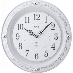 ノア精密 W-664WH ホワイト MAG セルマン [アナログ ラウンド 電波掛時計]|aprice