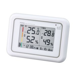 ノア精密 W-687WH ホワイト [電波時計付ワイヤレス温湿度計]|aprice