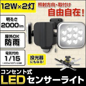 ムサシ LED-AC2024 RITEX フリーアーム式LEDセンサーライト 12W×2灯