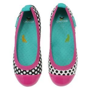 キッズ ベビー フラット シューズ 靴 CHOOZE チューズ  Dream POP Pink 女の子 パンプス バレエ キッズ ドット 水玉 ピンク apricos