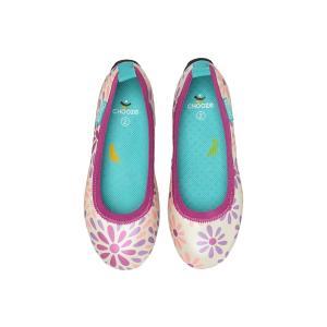キッズ ベビー フラット シューズ 靴 CHOOZE チューズ  Dream Grow 女の子 パンプス バレエ キッズ  花柄 ピンク apricos