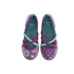 キッズ ベビー スリップオンシューズ 靴 CHOOZE チューズ  Twist Dazzle 女の子 パンプス バレエ キッズ  花柄 パープル apricos