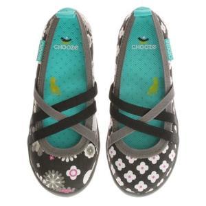 キッズ ベビー スリップオンシューズ 靴 CHOOZE チューズ  Twist Blink 女の子 パンプス バレエ キッズ  花柄 ブラック apricos
