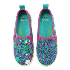 キッズ ベビー キャンバススリッポン シューズ 靴 CHOOZE チューズ   Move Cherish 女の子 スニーカー キッズ  カラフル パープル apricos